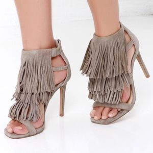 Steve Madden Taupe Fringly Heels